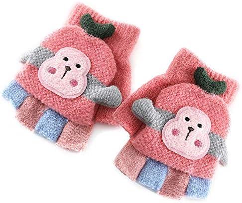 Nachar Girls Boys Winter Warm Gloves Children Cartoon Knitted Half Finger Mittens Fashion fingerless gloves