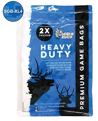 Koola Buck Premium Heavy Duty Hunting Game Bags for Field Processing Elk, Caribou, and Moose - 60-inch XL Quarter Meat Bags (Pack of 4)