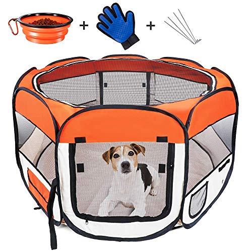 Masthome Welpenlaufstall Faltbar mit Abnehmbarem Boden und 2 Tür,Tierlaufstall Tragbar aus wasserdicht Gewebe für Haustiere wie Hunde und Katzen,als auch Haustier Kreißsaal Nutzung