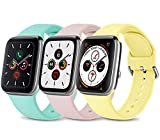 Wanme - Correa compatible para Apple Watch de 38 mm, 40 mm, 42 mm y 44 mm, correa deportiva de silicona, correas de repuesto para iWatch Series 6, 5, 4, 3, 2 1