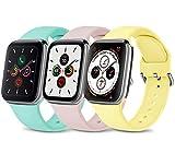Wanme 3 Pack Compatibile con Cinturino Apple Watch Cinturino 38mm 40mm 42mm 44mm, Silicone Morbido Cinturini Edizione Sportivo per iWatch Series 6 5 4 3 2 1 SE, Uomo e Donna Cinturin