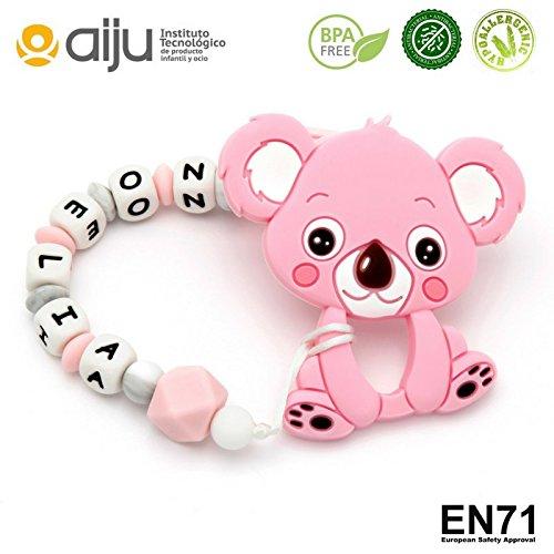 Pack Chupetero Personalizado con Nombre Sweet Pink + Mordedor Koala Pink | Chupetero & Mordedor de Silicona Antibacteriana | | CERTIFICADO normativa Europea de Seguridad | Envío Urgente 24/48H