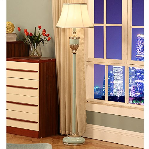 KANULAN Nordic Floor - Lámpara de pie para salón, dormitorio, estudio creativo, lámpara de pie europea, cálida romántica moderna, resina, tejido (color B)