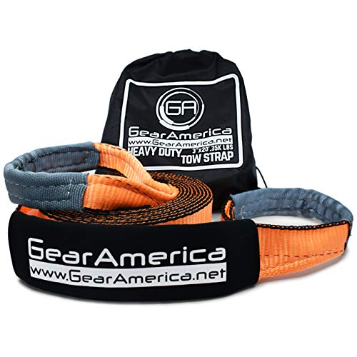 GearAmerica Heavy Duty Recovery Tow Strap | 35,000 lbs (17.5 Tons) Strength | 3' x20' Winch...