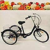 Unknown Generic - Triciclo a 3 ruote, 24', per adulti, 6 marce, con cestino per la spesa, a tre ruote, velocità regolabile, trike Cruise, Adult Tricycle (nero)