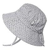 JAN & JUL Newborn Infant Baby Girl Boy Cotton Bucket Sun Hat 50 UPF Protection, Adjustable Good Fit, Stay-on Tie (0-6 Months, Grey Herringbone)
