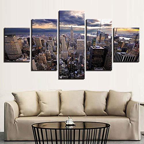Wjdymx canvasdrukken, 5 stuks, moderne wooncultuur, modulaire foto's voor woonkamer, hoge huisjes, landschap, hoogpolig, hoog, canvas, schilderijen, wandposter