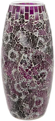 Maturi - Jarrón de Mosaico de Cristal Agrietado, 30 cm, Color Morado