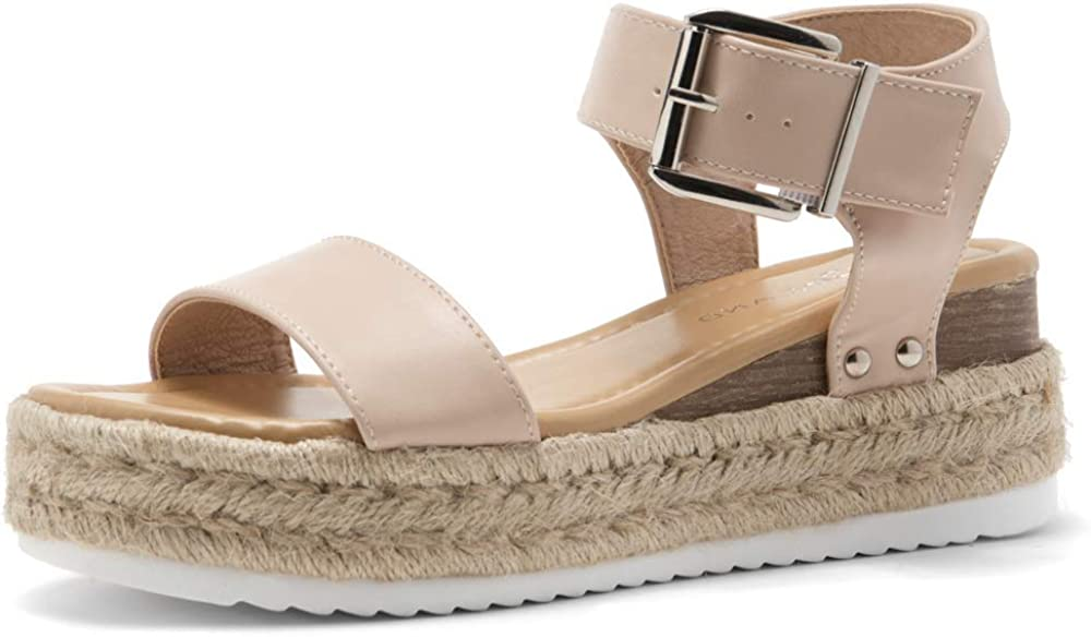 Shoe Land ALYSA Womens Open Toe Ankle Strap Platform Wedge Shoes Casual Espadrilles Trim Flatform Studded Wedge Sandals