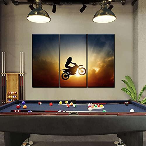 Cuadros Decoracion Salon Modernos 3 Piezas Lienzo Grandes XXL Murales Pared Hogar Pasillo Decor Arte Pared Foto Innovador Regalo Silueta de piloto de motocross (con Marco)