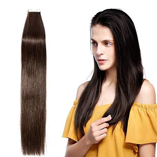 Tape Extensions Echthaar 50g - Haarverlängerung 100% Echthaar Extensions Tape In glatt #2 Dunkelbraun 45cm