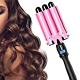 3 Barrel Curling Iron Wand Triple Barrel Curling Iron Pink Hair Crimper Iron Hot Tools Deep Waver 1 Inch Dual Voltage Fast Heating Hot Waver Iron with LCD Temperature Display