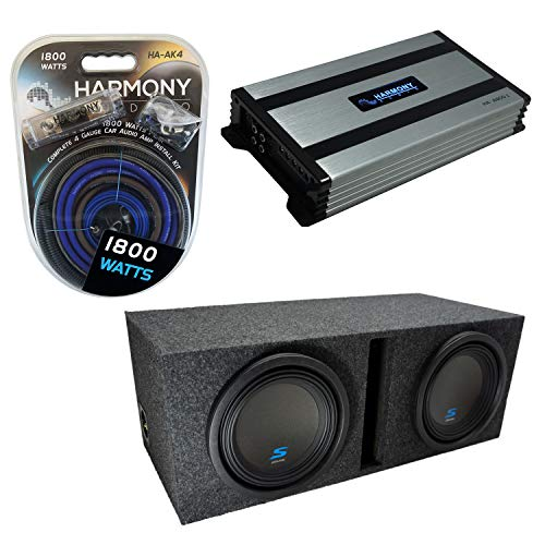 "Universal Car Stereo Vented Port Dual 10"" Alpine Bundle Type S S-W10D2 Sub Box Enclosure with Harmony HA-A800.1 Amplifier & 4GA Amp Kit"