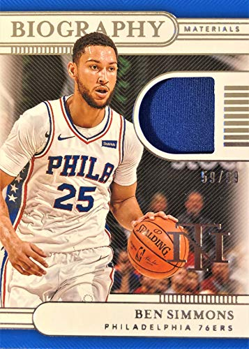 2019 Panini National Treasures BEN SIMMONS Biography Materials Basketball Card - Game Worn Jersey Patch Serial# 59/99 (Only 99 Exist) - Philadelphia 76ers