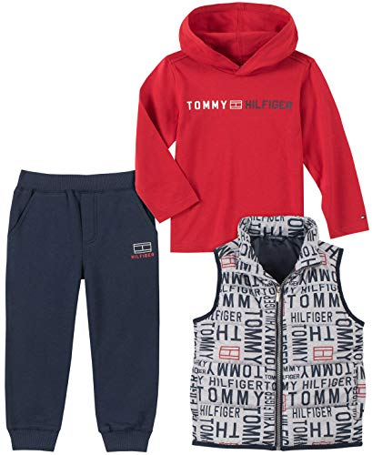 Tommy Hilfiger Baby Boys 3 Pieces Vest Pants Set, Print/Red, 3-6 Months