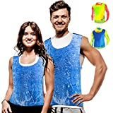 Body Cooling Vest for Men Women PVA Water Activated Ice Cold Vest Cool Vest for Sunstroke Protective Working Motorcycle (Blue)