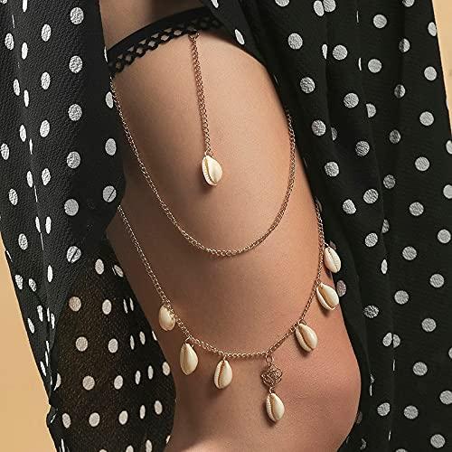 juntao Colgante de concha natural femenina bohemia para mujer, estilo de playa de verano, color dorado, cadena de metal para muslos (color de metal: BT307-1)