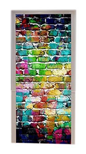 A.Monamour Türtapeten Selbstklebend 3D Bunt Bemalt Graffiti Mauer Abstrakter Hintergrund Türtapete Türposter Tapete 77x200cm