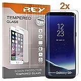 REY 2X Protector de Pantalla 3D para Samsung Galaxy S8 Plus - S8+, Transparente, Protección Completa, 3D / 4D / 5D