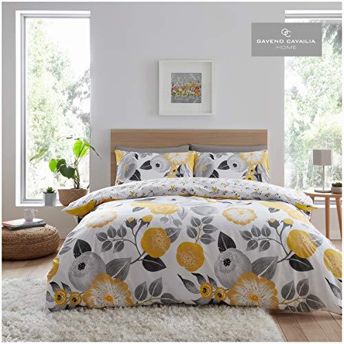 Gaveno Cavailia - Lussuoso set di biancheria da letto con copripiumino e federe, in poliestere-cotone, per letto matrimoniale, in policotone, colore: Giallo Neve-Giallo