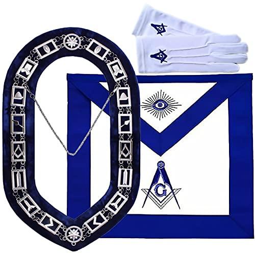 Blue Lodge Master Mason Apron, Chain Collar, Square and Compass Gloves Set
