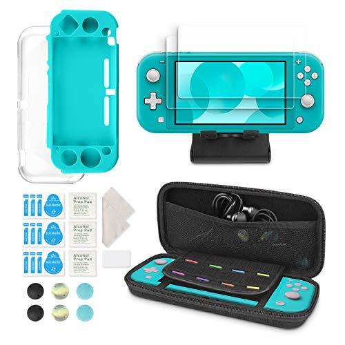 Uiter Kit d'Accessoires 6-en-1 pour Nintendo Switch Lite - Étui de Transport Nintendo Switch Lite/Couverture Transparente/Protecteurs d'Écran/Support Réglable/Capuchons de Joystick