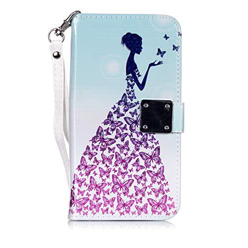Karomenic PU Leder Hülle kompatibel mit Samsung Galaxy J5 2017 Glitzer 3D Cartoon Handyhülle Brieftasche Schutzhülle Klapphülle Ledertasche Standfunktion Magnet Wallet Flip Case Etui - Prinzessin