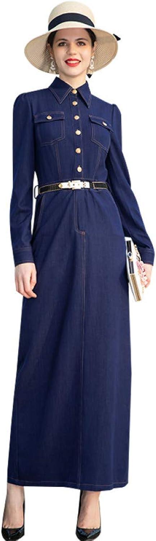 QAQBDBCKL Spring Autumn Denim Long Dress Pencil Office Lady Plus Size Long Sleeves Elegant Dress