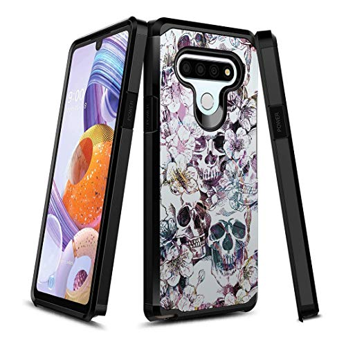 OYU Case Compatible with LG Stylo 6 [Protection Slim Thin Design Dual Layer Black Case Cover] for LG Stylo 6 All Phone Carriers (Messy Skull)
