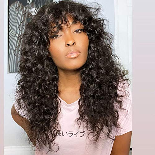 Brazilian Virgin Human Hair Wigs Kinky Curly Wigs With Bangs 150% Density None Lace Front Deep Curly Wigs Glueless Full Machine Made Wigs For Black Women Natural Color (14Inch)
