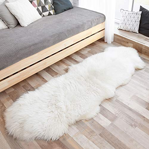 Ophanie Ultra-Luxurious Fluffy Sheepskin Area Rug, Soft and Thick Faux Sheepskin Fur Chair Couch Cover Shaggy Rug Non-Slip Carpet for Bedroom, Living Room, Modern Decor Rug, 2x6 Feet, White