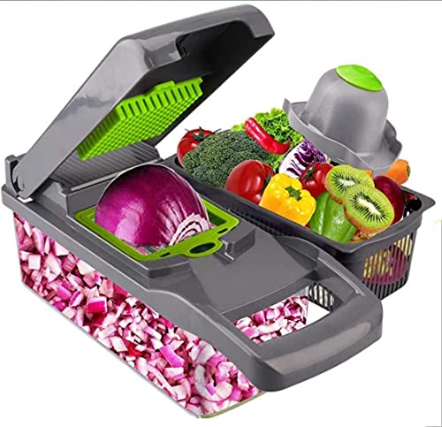 Vegetable Chopper and Onion Chopper Spiralizer Vegetable Slicer Heavier Duty Vegetable Slicer Dicer Cutter with Container 7 Blades
