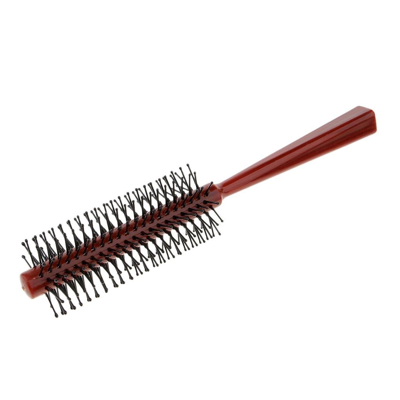 牧師有害ロールFenteer ラウンドブラシ ロールブラシ ヘアコーム 頭皮マッサージャー プラスチック 全2色 - 赤