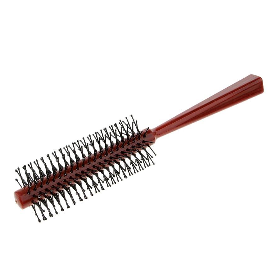 選択トチの実の木リークFenteer ラウンドブラシ ロールブラシ ヘアコーム 頭皮マッサージャー プラスチック 全2色 - 赤