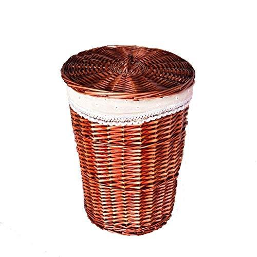 ECSWP Storage Basket Dirty Clothes Storage BasketWicker Basket,Storage Chest Trunk Hamper With Cover (Color : Coffee, Size : XXL)