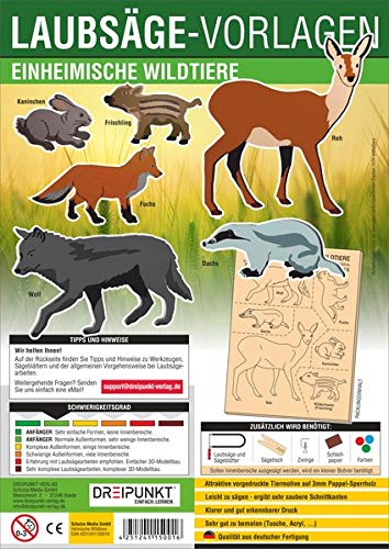Laubsägevorlage Einheimische Wildtiere: Laubsägevorlage für sechs einheimische Wildtiere aus hochwertigem 3mm Pappelsperrholz.