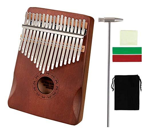 CAMPSLE Kalimba Arpa de piano de pulgar de 17 teclas con pegatina de tono y martillo de afinación, piano portátil de madera Mbira Sanza, piano de pulgar Carlimba, Regalo para niños, cumpleaños