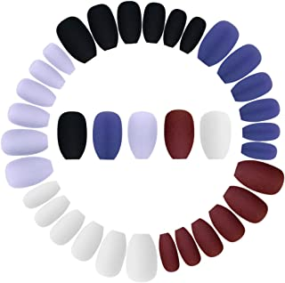 Wobe 120pcs Colorful Coffin Nails Matte False Gel Nails Art Tips Sets Full Cover Medium Matte False Nails for Ballerina Co...