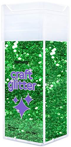 Hemway Glitzer-Streuer für Kunsthandwerk, Tumbler, Schule, Papier, Glas, Dekorationen, DIY-Projekte – 3 mm – 130 g smaragdgrün