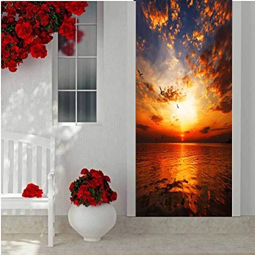 3D Door Decal Door Stickers Decor Door Mural, Sunset on The Beach with Beautiful Sky, Removable Door Wall Mural Door Wallpaper for Home Décor 15 x 78.7 Inch -  XNBDA, FQ-MT-YHC-0306-1-05908-K38.5xC200