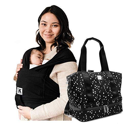 Baby K'tan Original Baby Wrap Carrier Black, X-Small and Diaper Bag Flex, Sweetheart Black
