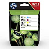 HP 953XL 3HZ52AE, Pack de 4, Cartuchos de Tinta Originales de alto rendimiento, Negro y Tricolor, compatible con impresoras HP OfficeJet Pro 7720, 7730, 7740, OfficeJet Pro Series 8000