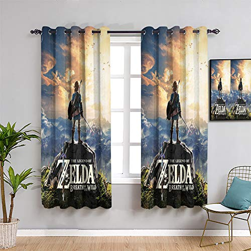 Ficldxc The Legend of Zelda Cortinas para dormitorio, cortinas de 99 cm de longitud para videojuegos y videojuegos geniales como regalo para los niños para mantener un buen sueño de 54 x 39 pulgadas