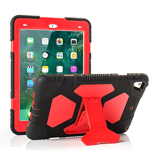 iPad 2017/2018 iPad 9.7 inch Case, Shockproof Impact Resistant Protective Case Cover Full Body Rugged for Kids with Kickstand for ipad 5 th/ipad 6 th Generation, Red Black