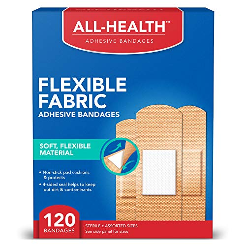 All Health Flexible Fabric Adhesive Bandages, Assorted Sizes Variety Pack, 120 ct   Flexible Protection for First Aid and Wound Care
