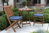 Outdoor Interiors Eucalyptus 3Piece Square Bistro Outdoor Furniture Set - Includes Blue Cushions