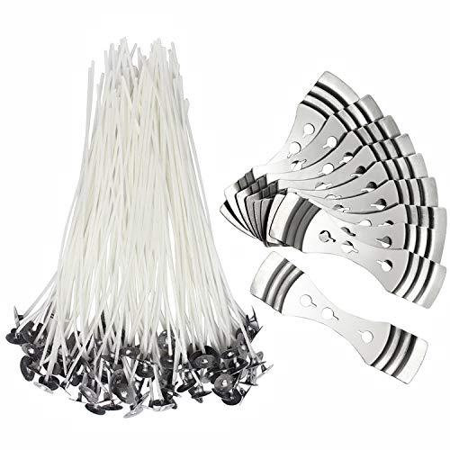 hysagtek 100pcs baja emisión de humo natural vela mecha sujeciones con pestañas + 10pcs mecha dispositivo de centrado, regalo set kit para hacer velas para hacer velas y velas DIY