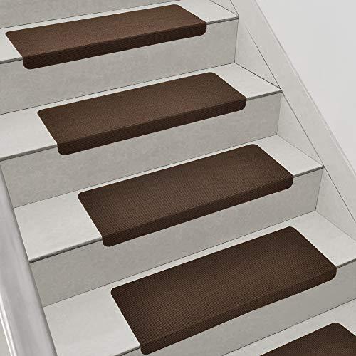 [en.casa] Stufenmatten im 15er Set Braun Eckig Schalldämmend Treppenmatten rutschfest Treppenteppich Treppenschoner