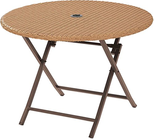 Crosley Furniture CO7205-LB Palm Harbor Outdoor Wicker Folding Table, Light Brown