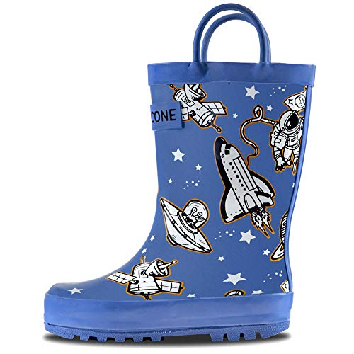 LONECONE Rain Boots with Easy-On Handles in Fun Patterns for Toddlers and Kids, Puddle Shuttle,...